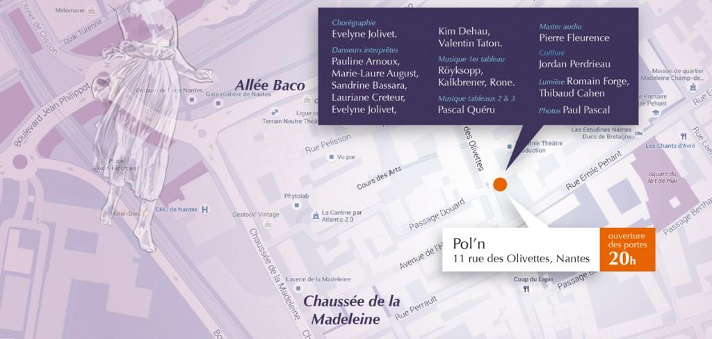plan d'accès et détail de la pierre du vivant à Pol'n le 21 octobre 2015